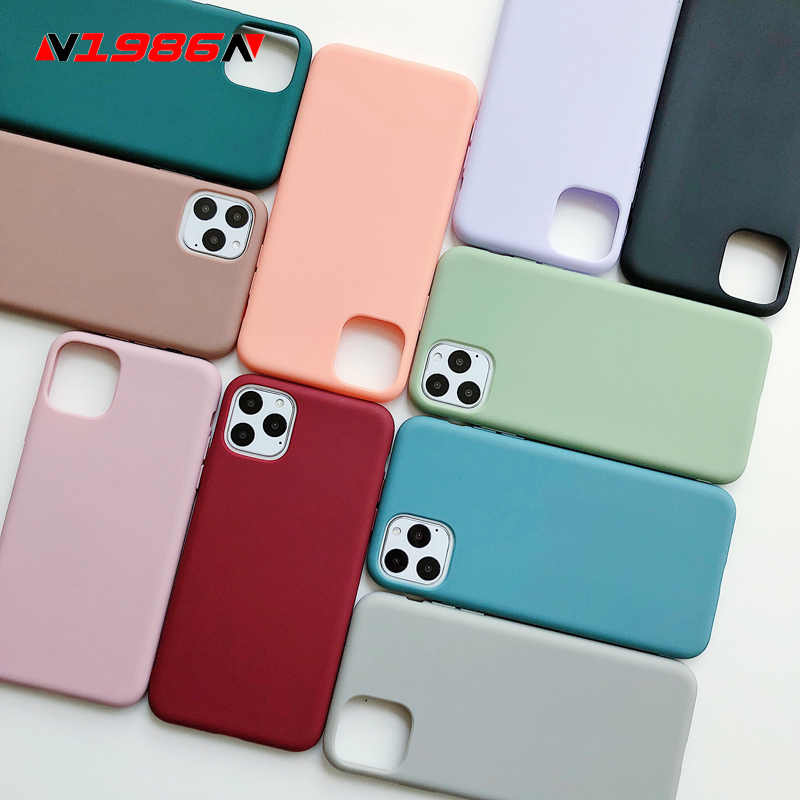 N1986N untuk iPhone 11 11 Pro Max X XR X Max 6 6 S 7 7 Plus Fashion permen Warna Sederhana Warna Solid Lembut Silicone Case