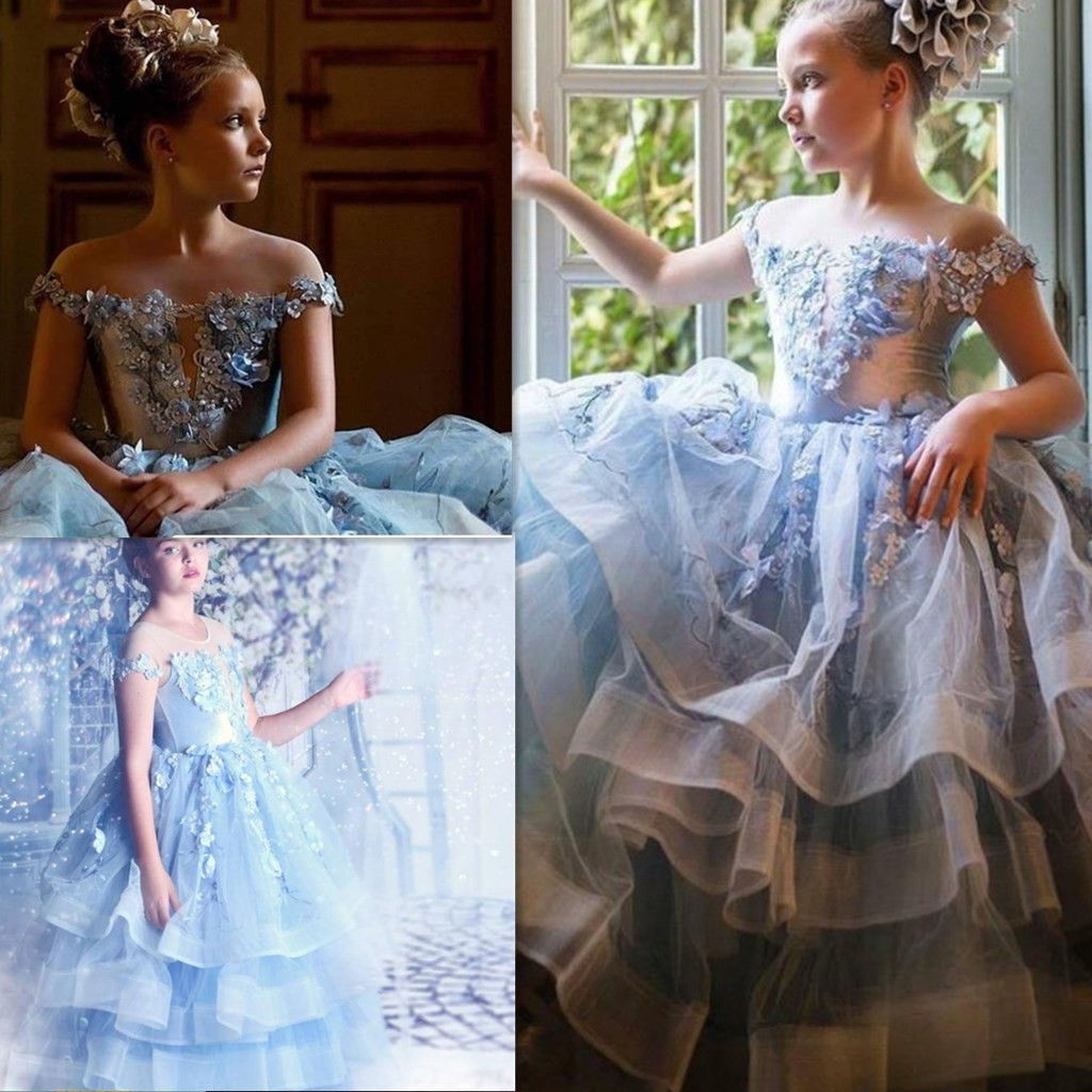 2020 New Flower Girls Dresses Lace Appliqued Off Shoulder Girl Pageant Dress Ball Gowns Cheap