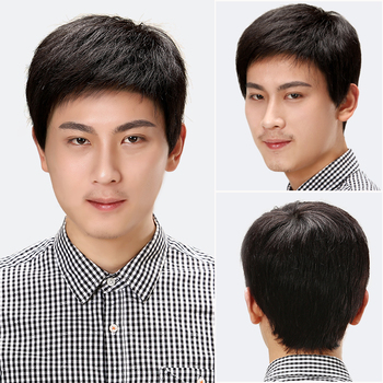 цена на MUMUPI Man Pixie Hairstyle Black Short Straight Heat Resistant Synthetic Wig 100% Real Natural Hair Wig Free Shipping