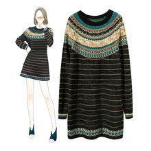 French Brand Vintage Knitted Dress Women Stand Gold Striped Mini Sweater Dresses Ladies Christmas Gift Oversized Dress Autumn