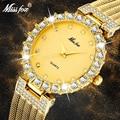 MISSFOX Frauen Uhren Luxus Marke Uhr Armband Wasserdichte Große Lab Diamant Damen Handgelenk Uhren Für Frauen Quarz Uhr Stunden-in Damenuhren aus Uhren bei