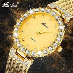 MISSFOX relógios femininos marca de luxo relógio pulseira à prova dbig água grande laboratório diamante senhoras relógios de pulso para mulher relógio de quartzo horas