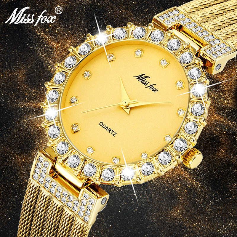 MISSFOX נשים שעוני יוקרה מותג שעון צמיד עמיד למים גדול מעבדה יהלומי גבירותיי יד שעונים לנשים קוורץ שעון שעות