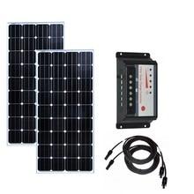 Solar Kit Panel 150w 12v 2 Pcs Placas 300w Battery Controller 12v/24v 30A Boat  Motorhomes Rv Caravan Car Camp