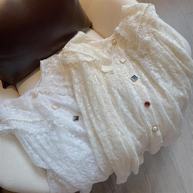 Long Sleeve Lace Blouse Shirt Blouse Women Blusas Mujer De Moda 2021 Beading Turn Down Collar Blouse Blusa Women Blouses E297 1