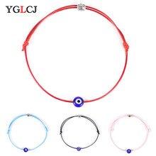 New Red Rope Bracelet Blue Eye Braided Devil Couple Jewelry Wholesale