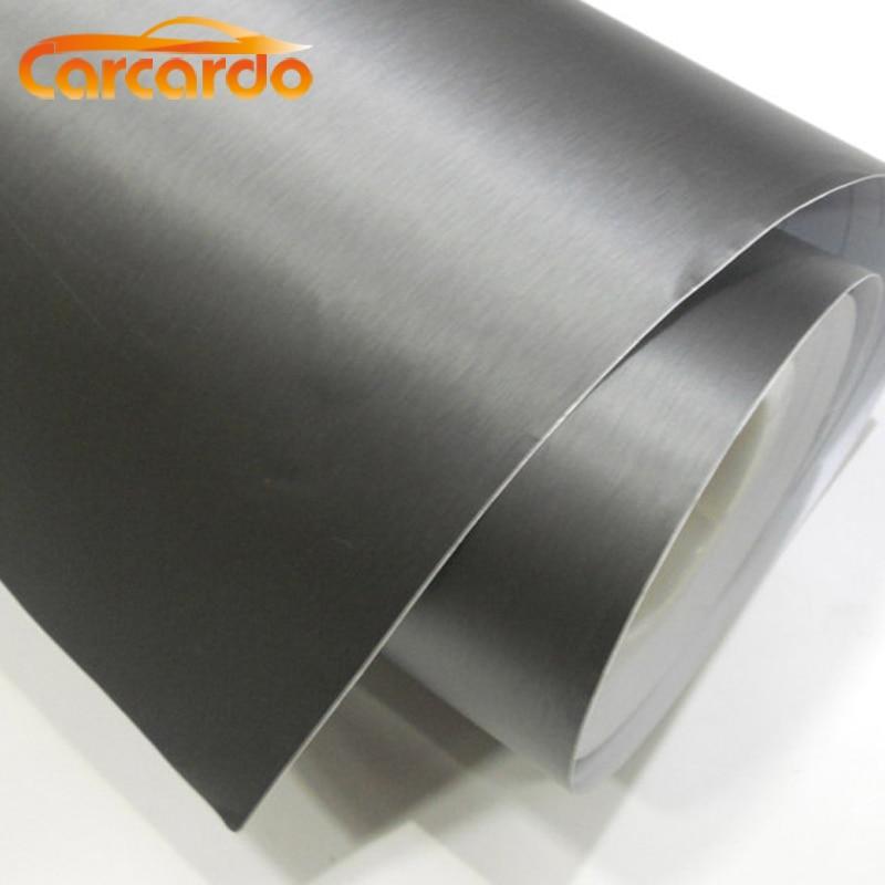 1 PC 1.52MX30cm Cepillo de aluminio negro claro Película de vinilo Vinilo de aluminio Etiqueta engomada del coche Cepillo de vinilo ENVÍO GRATIS