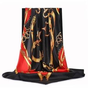 Image 1 - 2020 90*90 Cm Vuông Nữ Khăn Choàng Cổ Lụa Công Sở Nữ Tóc Cổ Bandanna Đầu Foulard Headcloth Hồi Giáo Khăn Trùm Đầu nữ