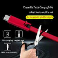 Cable USB ajustable, Cable de carga de teléfono para iPhone, reparación rápida, línea reutilizable de teléfono móvil Android tipo C