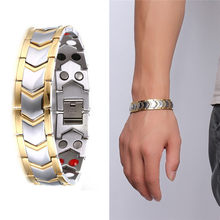 Pulseira masculina pulseiras energia germânio magnético turmalina pulseira de cuidados de saúde jóias para mulher pulseiras pulseira de emagrecimento