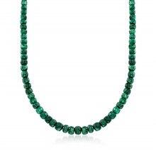 90.00 ct. T. w. Emerald Bead Ketting Met Sterling Zilver