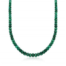 90.00 ct. t.w. Emerald Bead Necklace With Sterling Silver