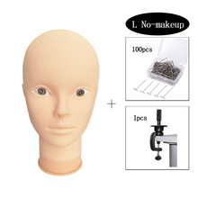 цена на Mannequin Head Model Female Wig Making Hat Display With 100pcs Tpins and 1pcs Clamp Makeup Practice Training Manikin Bald Head