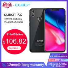 Cubot P20 19:9 6,18 дюйма 2246*1080 FHD+ Экран с Вырезой 4 ГБ Оперативная память 64 ГБ Встроенная память Android 8,0 MT6750T восьмиядерный Двойная Задняя Камера 20MP+ 2.0MP 4000 мАч Телефон 4G LTE Смартфон с Чехлом