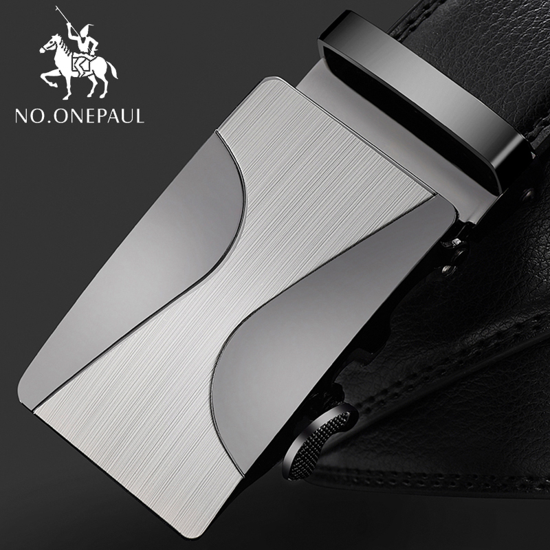 NO.ONEPAUL Automatic Buckle Fashion Waist Male  Good Mens Belt Luxury High Quality Cow Genuine Leather For Men Automatic Buckle