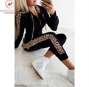 Image 4 - Women Autumn 2 Piece Outfits for Streetwear Leopard Patchwork Design Hoodies Decor Slim Zipper Top+Elastic Waist Pencil Pants