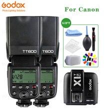 2x Godox TT600 2.4G Trasmettitore Senza Fili X Sistema di Macchina Fotografica Flash Speedlite Con X1T C Trigger per Canon Fotocamere + Trasporto kit regalo