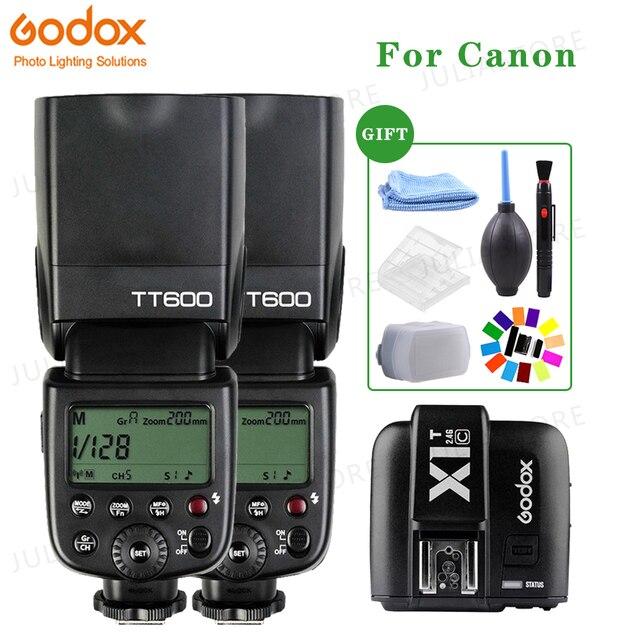2x Godox TT600 2.4G אלחוטי X מערכת מצלמה הבזקי Speedlites עם X1T C משדר טריגר עבור Canon מצלמות + משלוח ערכת מתנות