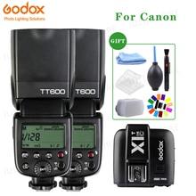 2x godox tt600 2.4g 무선 x 시스템 카메라는 캐논 카메라 + 무료 선물 키트에 대한 X1T C 송신기 트리거와 스피드 라이트를 깜박
