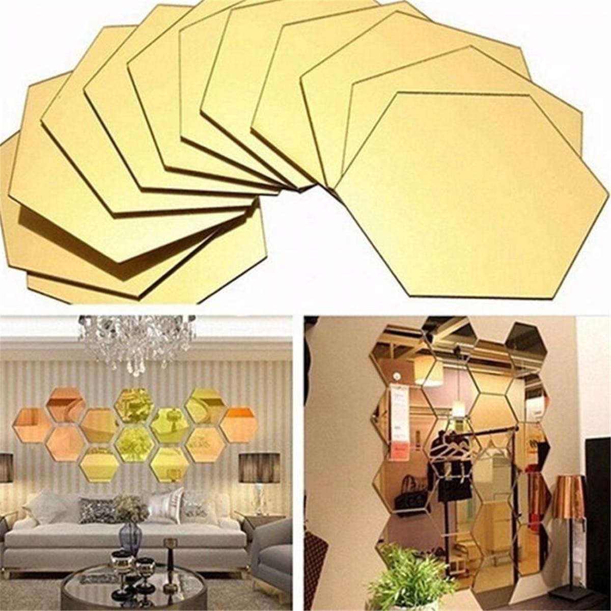 12 шт., 3D Шестигранная акриловая зеркальная Настенная Наклейка s для самостоятельного художественного декора стен, наклейка для домашнего де...