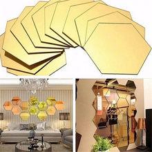 12 pçs 3d hexágono acrílico espelho adesivos de parede diy arte decoração da parede adesivo para casa sala estar espelhado mural adesivo