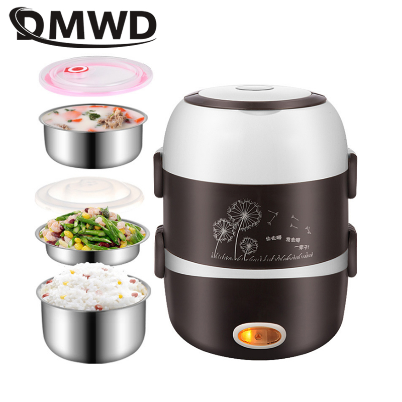 DMWD Electric Mini Rice Cooker 2/3 Layers Stainless Steel Liner Portable Egg Boiler Steamer Food Warmer Lunch Box Multicooker 2L