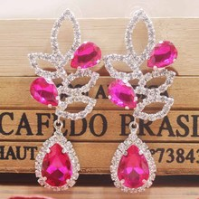 High-grade hot pink wedding /party earring silver shiny women earring rose gold champagne earring Zerong new rhinestone earring цены онлайн