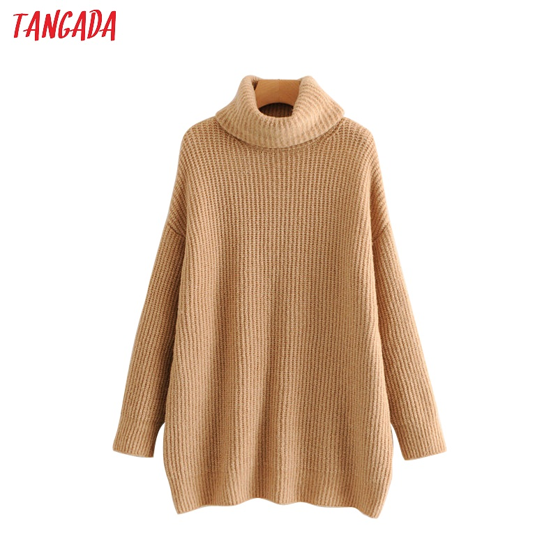 Tangada Women Solid Jumpers Turtleneck Sweaters Oversize Autumn Winter Long Sweater Coat Batwing Sleeve Loose Knitwear Top HY31
