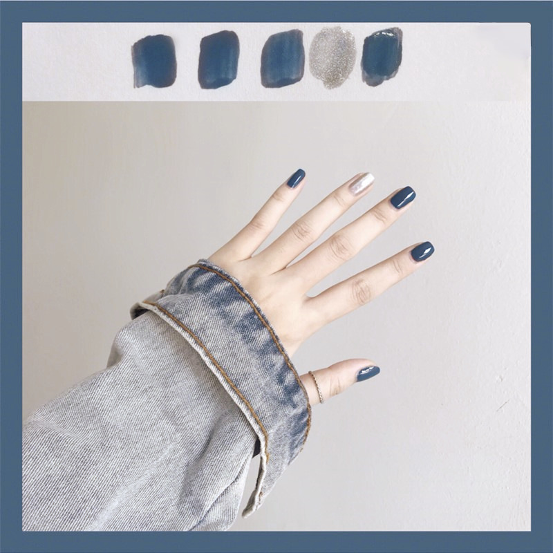 212-Blue Sparkle Silver Jump Party Blue INS Wind Europe And America Bride Japanese Korean Wear Manicure Fake Nails Stickers