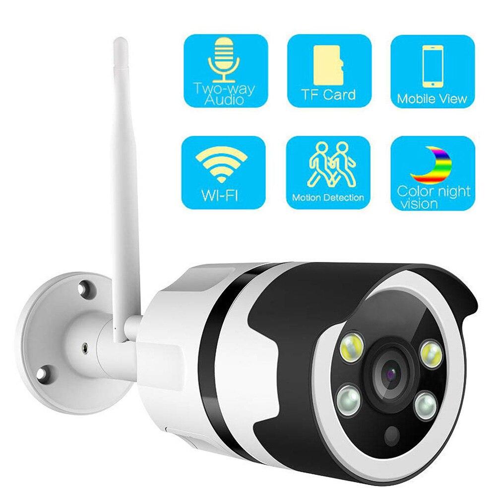 1080P 720P câmera IP Wifi Câmera À Prova D' Água de Metal de Duas Vias de Áudio Cor Câmera de Visão Noturna Ao Ar Livre Com SD slot Para cartão Max 64G