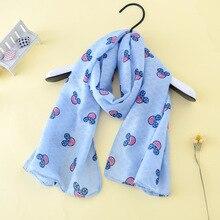 140*40 детский весенне-осенний хлопковый шарф с принтом Микки Мауса детский нагрудник ярких цветов, детский нагрудник, шарф для детей