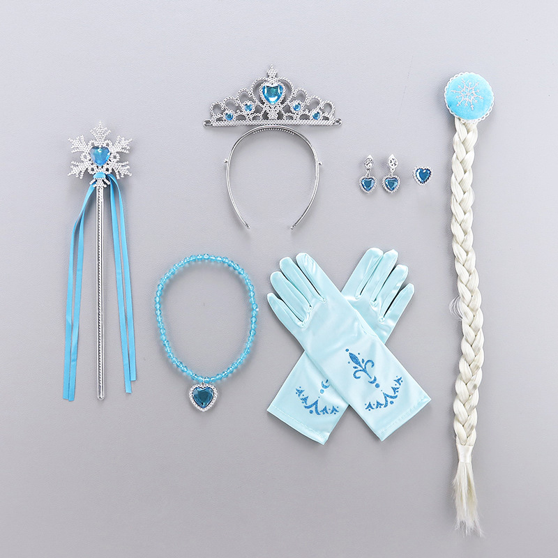 Princess Accessories Set Dress Up Belle Crown Snow White Sofia Necklace Cinderella Earring Aurora Gloves Rapunzel Anna Elsa Wig