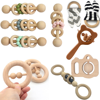 Wooden Rattle Beech Bear Hand Teething Wooden Ring Baby Rattles Play Gym Montessori Stroller Toy Educational Toys For Children baby wooden teether toys rattle nursing bracelet animal bear musical rattle newborn montessori educational stroller toy play gym