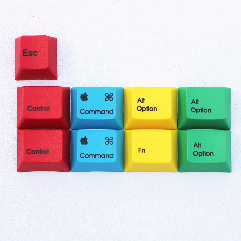 9 Keys/set PBT Dye Sublimation RGBY MAC/WIN Keycaps Mechanical Keyboard Cherry Profile Key Caps For Ikbc Cherry Filco Akko