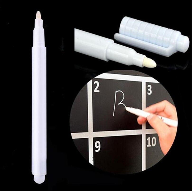 2 pces branco líquido giz caneta marcador de vidro windows quadro negro caneta líquida usada no quadro pode ser limpe