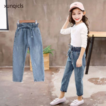 3-11Age New Kids Girls Jeans Children Hole Jeans Baby Denim Pants Girl Long Trousers Clothing Spring and Autumn girls denim pants high quality spring kid clothing autumn girl trousers fall children jeans pants leggings heart pattern jeans