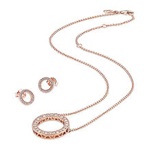 Sterling Silver Rose Gold Hollow Round Round Earrings Zircon Necklace Of Elegant Ladies Clavicle Chain Collarbone Earrings Set(China)