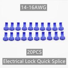 цена на 20pcs Blue 0.75-2.5mm Crimp Terminals Electrical Cable Connectors Fast Quick Splice Lock 22-16 18-14 AWG Wire Terminals Crimp