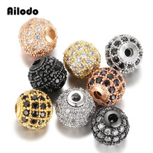 Ailodo 3Pcs/Lot Round Ball CZ Beads 6mm DIY Metal Bead Brass Micro Pave Cubic Zirconia Spacer Charms Wholesale LD377