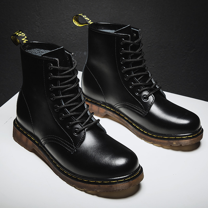 Coturno Women Leather shoes High Top Fashion Winter Warm Snow shoes Dr. Motorcycle Boots black Couple Unisex boots