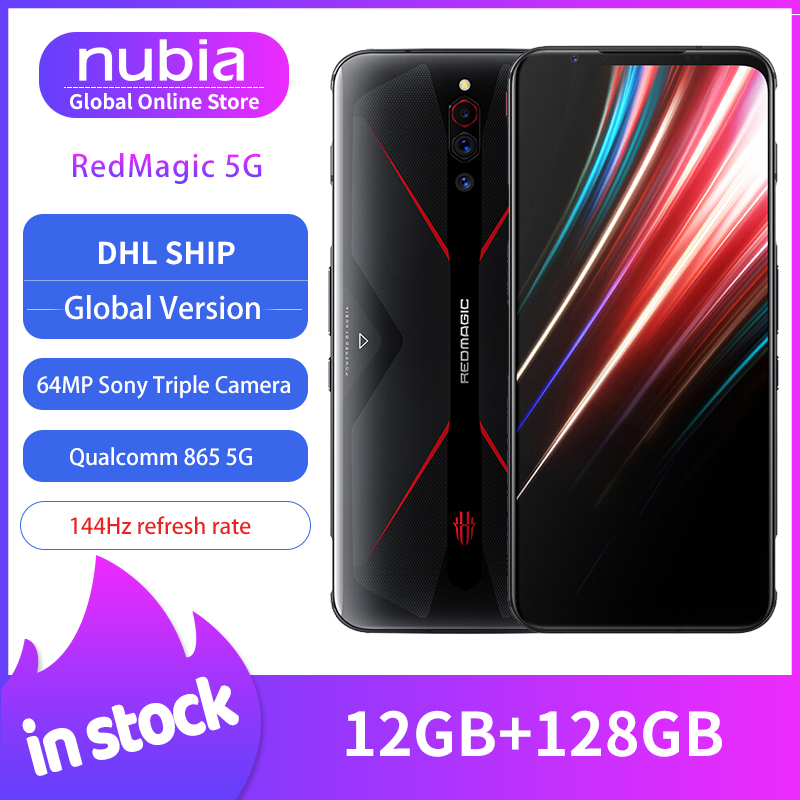 Dropship Versão Global Nubia Red Magic 5G MobilePhone 6.65 polegada 10 12GB 128GB Snapdragon 865 Android NFC jogos de Telefone WIFI 6