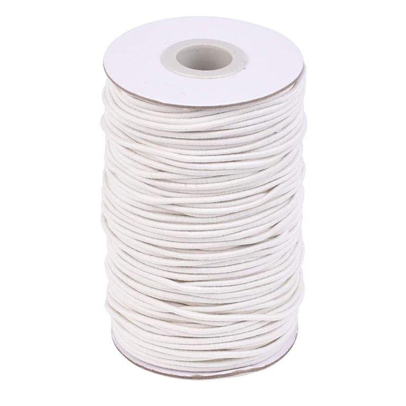 2mm Round Elastic Cord Thread with Fibre Outside Rubber Inside Stretchy Elastic String for DIY Jewelry Making Sewing Accessories