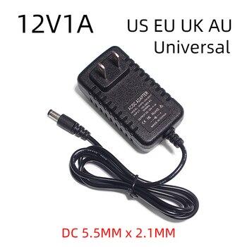 цена на Ac100-240v 12v 1a 12w Dc Ac Adapters Dc12v Us Eu Uk Au Plug Universal Power Adapter Supply for Cctv  LED light strips