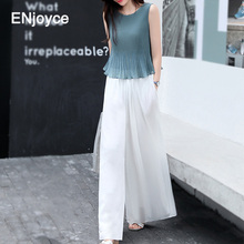 Summer 2020 Elegant Ruffled Two Piece Set Women Outfits Wide Leg Pants and Sleev