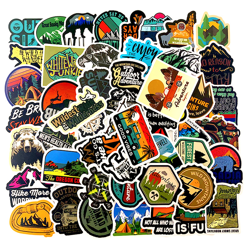 50 PCS Outdoor Camping Stickers To Wall Decor Living Bedrooms Decor Hike Travel Landscape Wall Stickers For Kids Room Decoration
