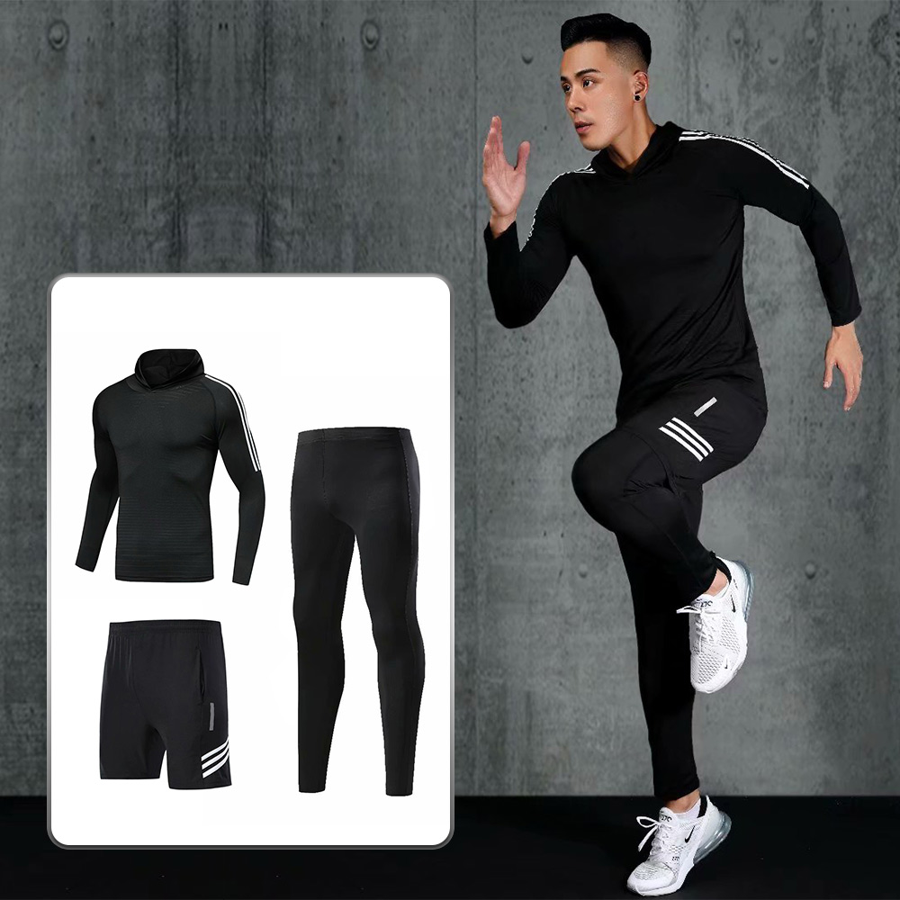 Mens Yoga Tracksuit Workout Leggings Fitness Sports Gym Running Clothing Set