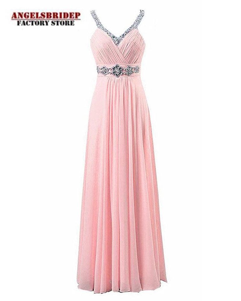 Angelsbridep Long V Neck Chiffon Prom Dresses 2021 Bead Formal Evening Party Gown Sukienki Koktajlowe Vestido De Gala Lace up