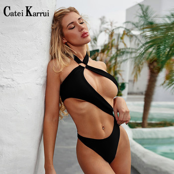 Catei Karrui 2020 new women's swimsuit open back solid one piece swimsuit sexy bikini essential for seaside play catei karrui 2020 new women s swimsuit plain high waisted swimsuit double sexy bikini is necessary for seaside travel