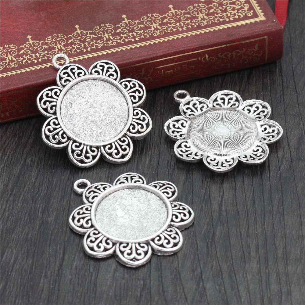 4pcs 20mm Inner Size Antique Silver Plated Classic Style Cabochon Base Setting Charms Pendant (D2-03)