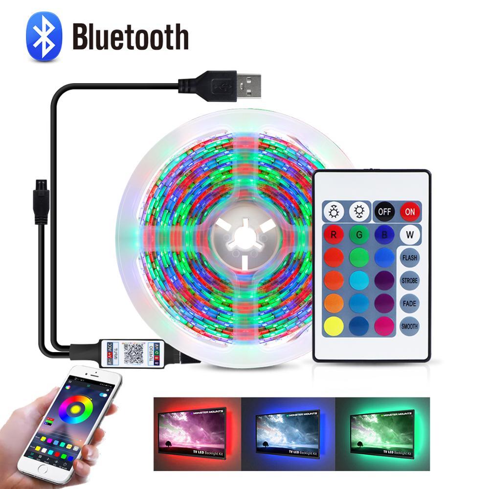 Светодиодная лента с питанием от USB, 5 В, RGB, Bluetooth, лампа 2835 SMD HD TV, подсветка экрана ПК, Рождественское украшение, 1 м, 2 м, 3 м, 4 м, 5 м